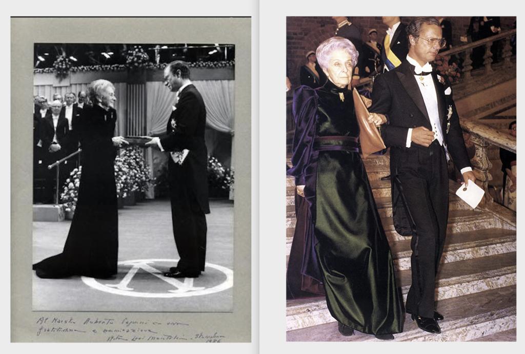 Rita Levi-Montalcini al conferimento del premio Nobel per la medicina nel 1986 in abito Roberto Capucci
